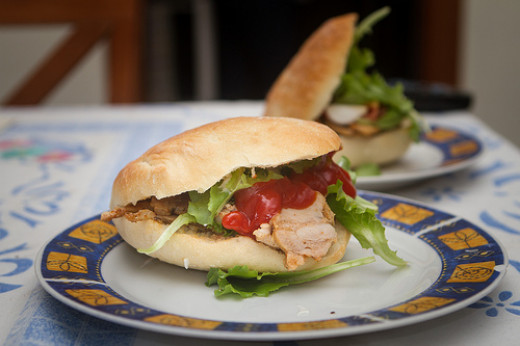 Farther east, kebab meats, vegetables, and sauces are added to a ciabatta bun to create an excellent sandwich.