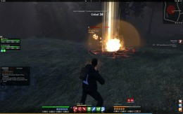 Fighting a Charred Remain as it uses its AOE fire attack.