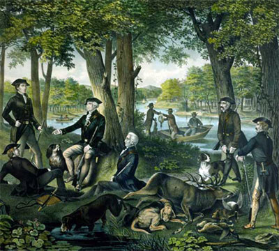 Washington and his dogs at his Mount Vernon Estate.