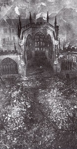 The ruins of Coventry Cathedral which experienced is heaviest attack on the 14th November 1940.