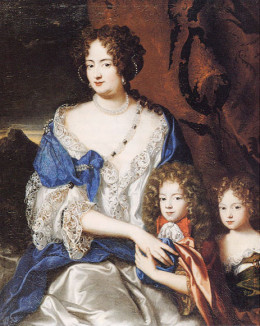 Sophia Dorothea with her two children in a painting  attributed to Jacques Vaillant