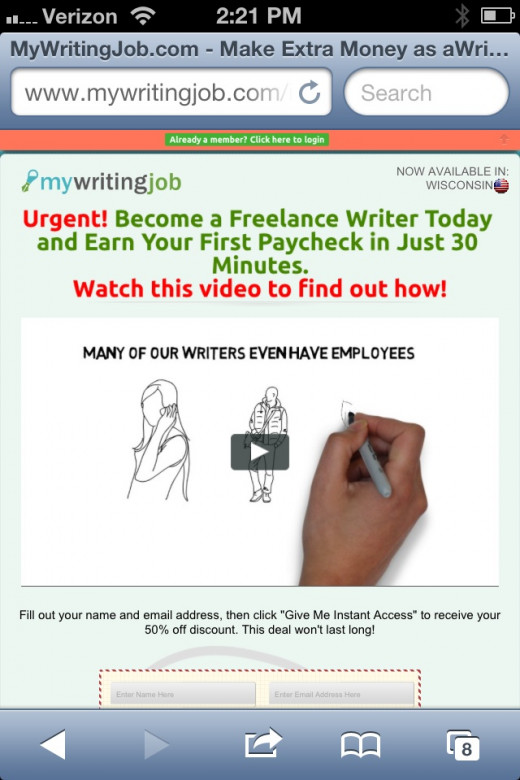 The too good to be true homepage for mywritingjob.com