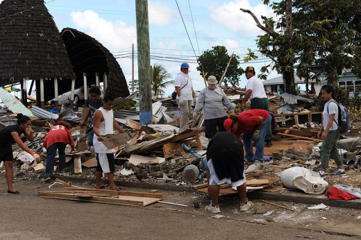 Leone, American Samoa on October 2, 2009, following an earthquake and tsunami