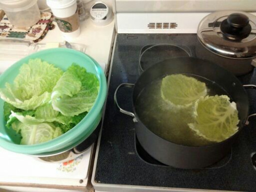 Boiling the cabbage.