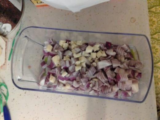 Diced onion and garlic