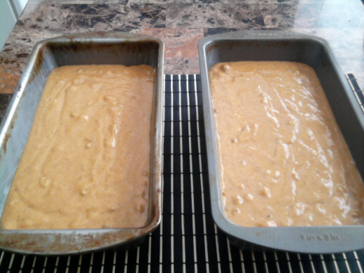 Mix in 2 loaf pans ready for the oven