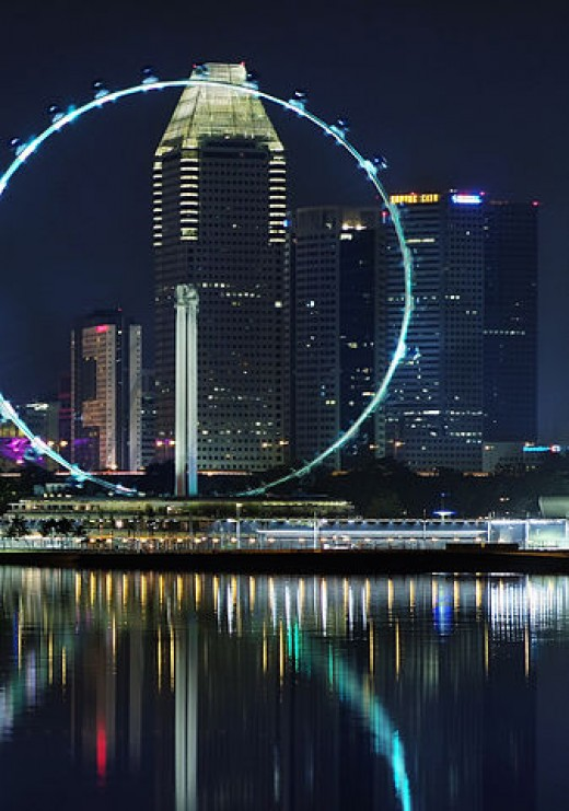 Singapore Flyer at night.