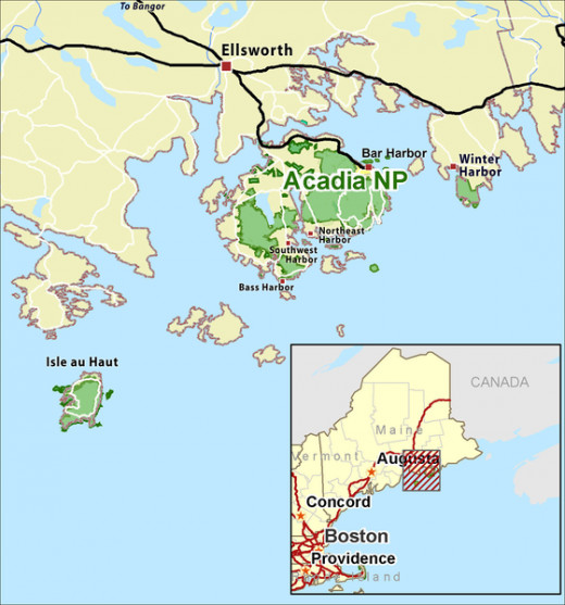Acadia National Park is located on Maine's Southern coast.