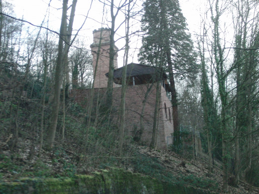 Building in the middle of the forest on the way to the Molkenkur, belvedere in Heidelberg.