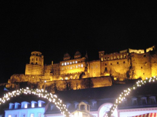 The Heidelberg Castle with the Christmas Market below