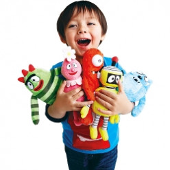 A happy kid after receiving new toys.