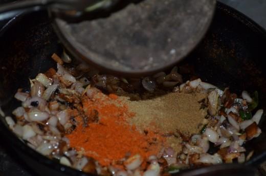 add masala powder and water