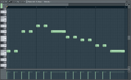 "This is what the first eight measures of ""Twinkle Twinkle, Little Star"" looks like as a MIDI sequence in FL Studio (plays from left to right). No music theory necessary."