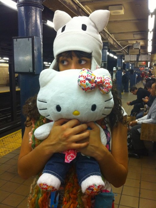 Fleece AFK Hat from Gaiaonline and my Build-a-Bear Hello Kitty
