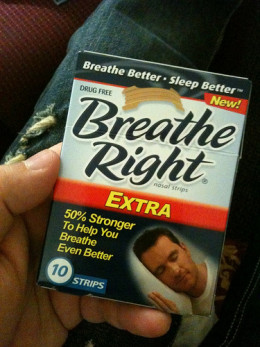 Sometimes a simple device like these breathing strips will cure nose snoring, especially during cold or allergy season.