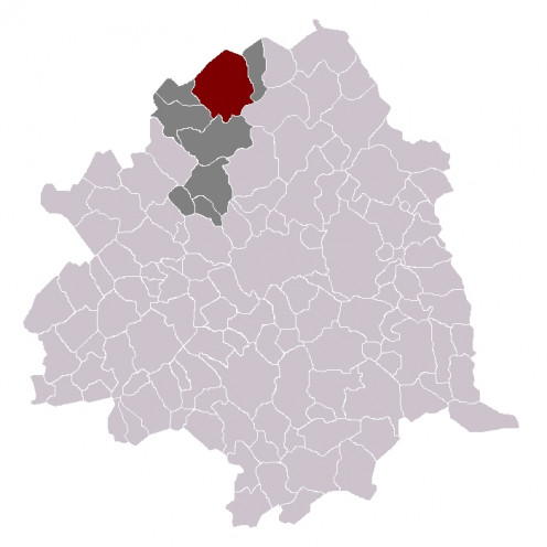 Map location of Comines (France) within Lille 'arrondissement'