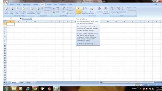 Step 1 To Delimit Data into Separate Column