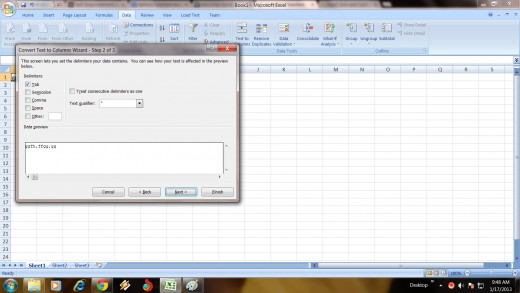 Step 2 To Delimit Data into Separate Column