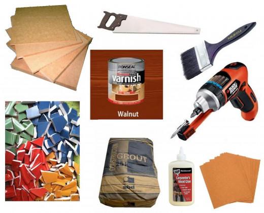 MDF Wood, Scrap Tiles, Grout, Hand Saw, Wood Glue, Sandpaper, Walnut Varnish, Paintbrush, Electric Screwdriver and Screws