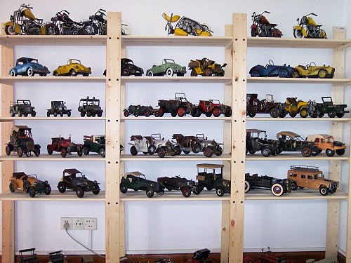 A collection of antique toy cars.