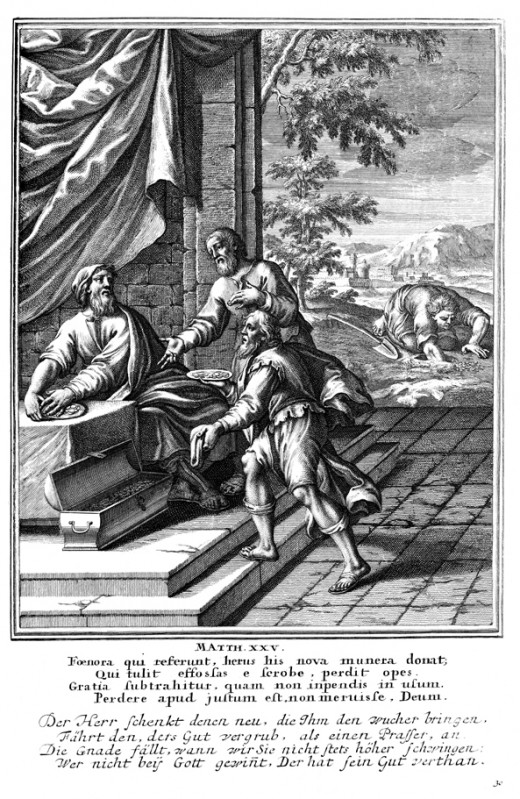 A 1712 depiction of the parable of the talents.