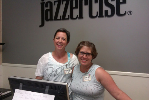 Class managers Dina & Cecilia at the Jazzercise Fitness Center in Royal Oak, MI.