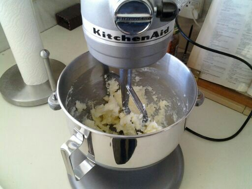 Mixing the butter and sugar.