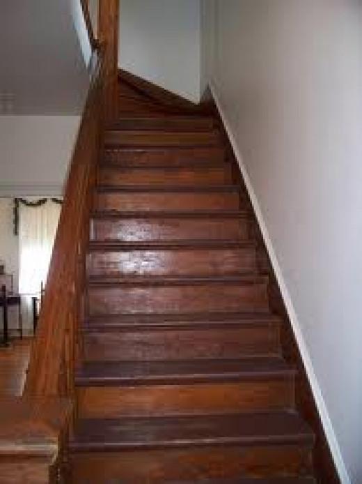 Staircase where board fell