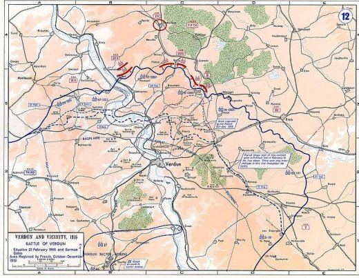 A strategic map of the battle of Verdun and the surrounding area.
