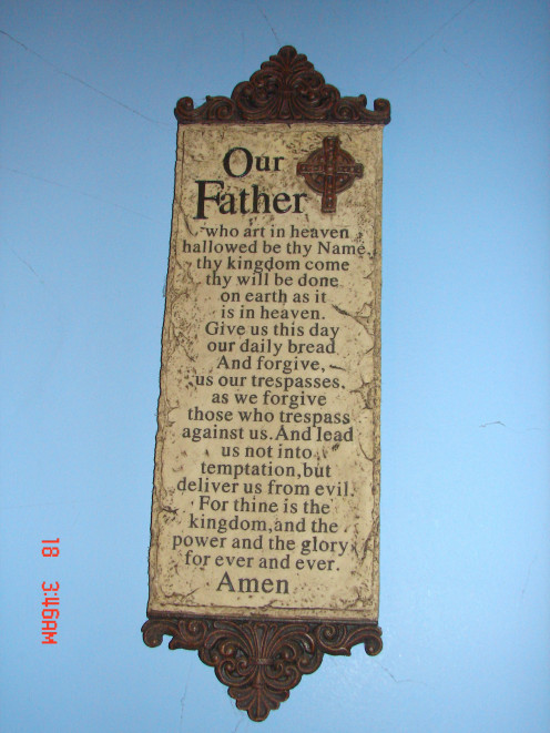This is a plaque of The Lord's Prayer.  It is etched into a stone tablet.  It hangs in my bedroom. To say this is a very important Christian Prayer would be a major understatement.