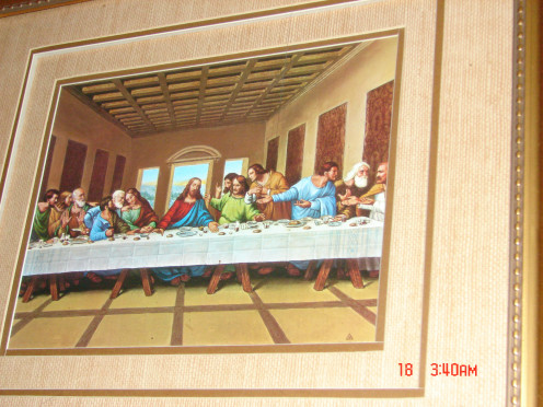 This is a picture of The Lord's Supper.  It is hanging in the living room of my house and my grandmother had one as well.