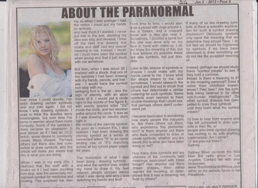 About the Paranormal - Symbols. By Sydney Silver, Photo of Original Printing in LA Xpress News Paper