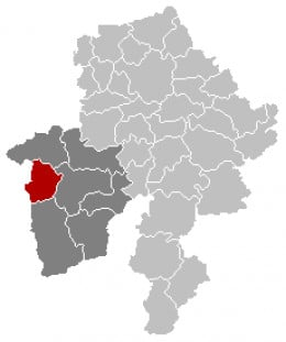 Map location of Cerfontaine in Namur province