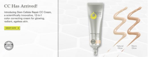 An advertisement for Juice Beauty CC Cream.