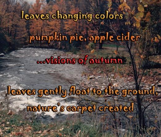 "a trip to New England during the ""Fall Foliage Season"" inspired Daisy Mariposa to write this tanka"