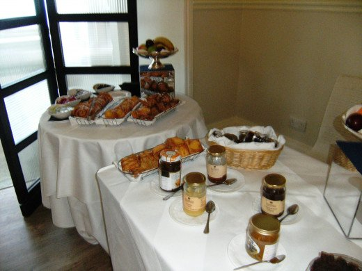 Selection of cold food available on the breakfast table