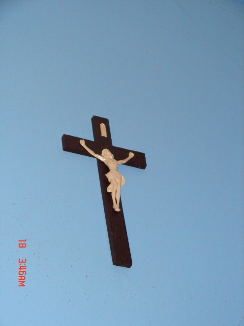This is a cross that we bought while visiting The Ava Maria Grotto.