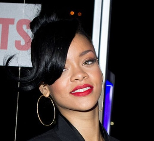 Rihanna in Big Hoop Earrings