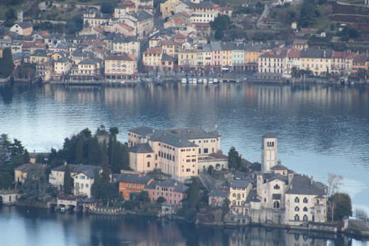 View from Madonna del Sasso (Piedmont) of Lake Orta & Island San Giulio, Italy