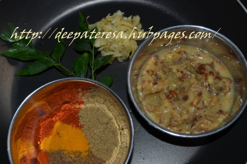 Masala powder, 2 teaspoon  cooked chickpeas is grinded, curry leaves, ginger garlic paste