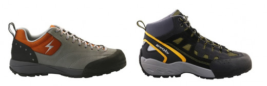 Men's Approach Shoes Bolt Orange, (left) and Maximus Yellow, (right). American Made Sneakers and Athletic Shoes.