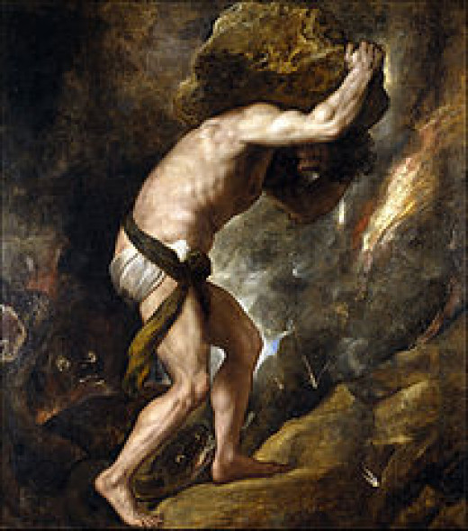 """Sisyphus pushing his boulder.  A """"Sisyphean"""" task is one which is utterly impossible to complete."""