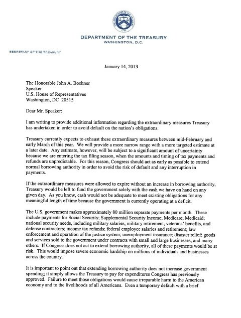 A letter of concern from the U.S.Treasury Secretary