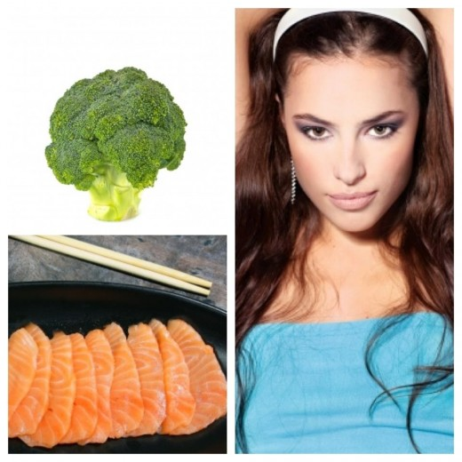 Natural emollients found in broccoli and salmon may help keep your hair shiny and manageable.
