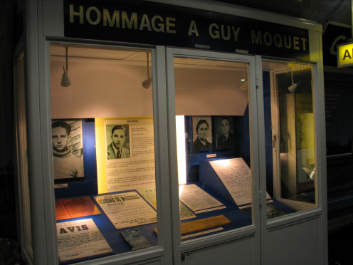 Exhibition honouring Guy Môquet which may be seen at the RATP Paris Metro station, line 13, bearing his name. Métro de Paris, ligne 13,  in the 17th 'arrondissement'
