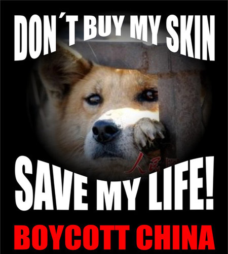 Dog in China.   It's not difficult to boycott products Made in China.  You just don't buy them.