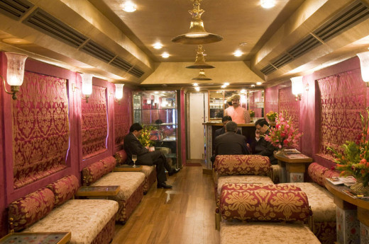 Lounge Car with a bar and library