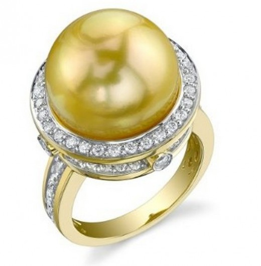 14mm Golden South Sea Pearl & Diamond Ring in 18K Gold