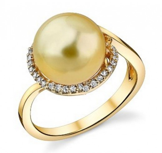 Unique Engagement Rings: Golden South Sea Pearl Rings. Swirl Pearl Ring.