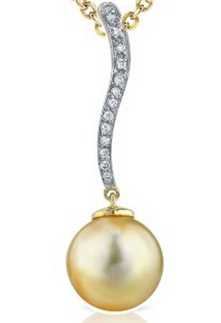 Golden South Sea Pearl Pendants You Will Love. 18k Gold, .15 carats diamonds, free yellow gold chain included.